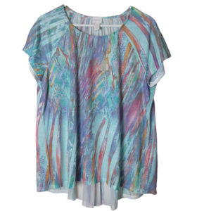 Chico's blue pastel pleated ruffle back top large